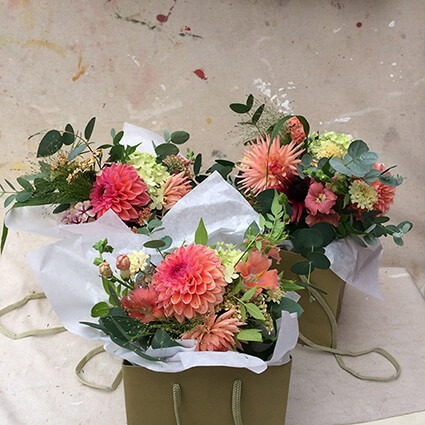 Flowers in gift bags