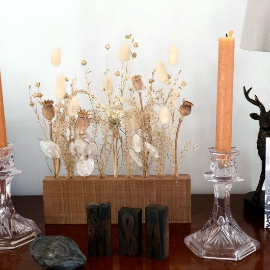 Dried Flower wooden block Display set